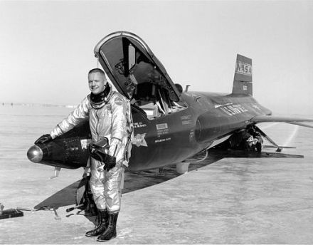 Pilot Neil Armstrong returns from a research mission, 1960