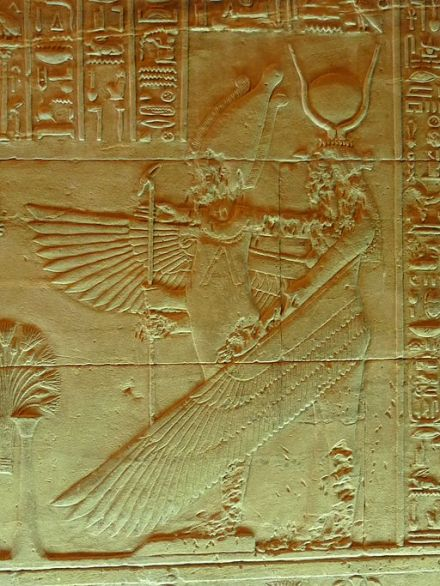 Osiris and Winged Isis, Isis Temple, Philae Island, Egypt. Photo by Remin.