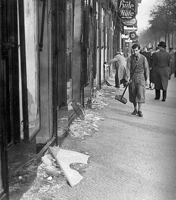 Cleaning the street after Kristallnacht