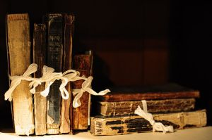 Picture of books from Basking Ridge Historical Society taken by William Hoiles.